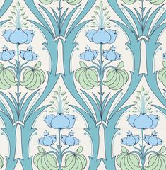 Amy Butler Passion Lily Ocean Wallpaper - Love this in a different color for laundry room? Lily Wallpaper, Blue Floral Wallpaper, Ocean Wallpaper, Kitchen Wallpaper, Home Wallpaper, Fabric Wallpaper, Wallpaper Samples, Print Wallpaper, Wallpaper Ideas