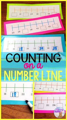 First, second and third grade students complete the number patterns on the number lines.  These are great for math centers and morning tubs! #numberlines #mathcenters