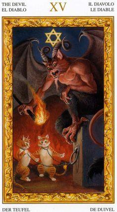 XV - Le diable - Tarot chats blancs par Severino Baraldi
