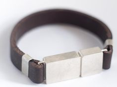 Tonia Welter Munchen USB Bracelet, sterling silver in matte finish with leather.