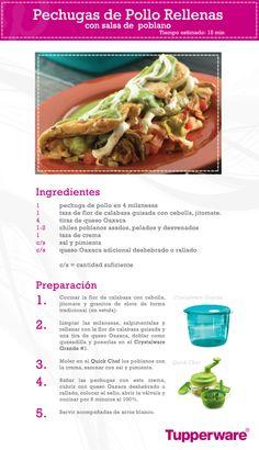 Prepara unas ricas pechugas de pollo rellenas con salsa poblana de manera muy fácil con Tupperware.