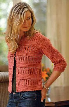 Summer Crochet Cardigan pattern by Therese Chynoweth Crochet Bolero, Gilet Crochet, Crochet Coat, Crochet Cardigan Pattern, Crochet Jacket, Crochet Blouse, Crochet Clothes, Crochet Sweaters, Crochet Shawl
