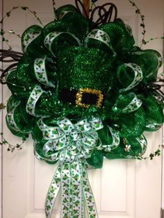 MADE TO ORDER - Deco Mesh St Patrick's Day Wreath, St Pattys Day, Leprechaun Wreath, LoYo Designs Wreath by LoYoDesigns on Etsy https://www.etsy.com/listing/217759217/made-to-order-deco-mesh-st-patricks-day