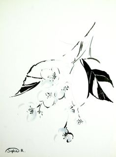 Jasmine Flowers Original Abstract Drawing Floral Wall by CanotStop, $40.00