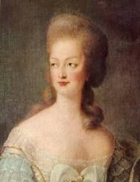 This is one of my favorite portrait of M.A.. Her hair is a' Natural with out the damn powder. Showing her lovely strawberry blond hair. Portrait was done by Vigee-LeBrun to have on hand if a portrait was needed and M.A. could not physically sit.