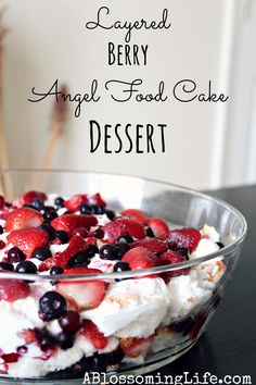 Perfect last minute 4th of July dessert! Layered Berry Angel Food Cake Dessert