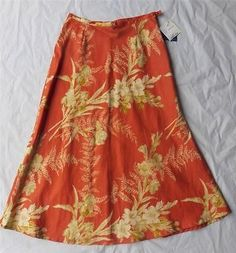 Liz Clairborne Women's Skirt Size 12 New Linen Floral MSRP $79 Long Modest   eBay $19.95