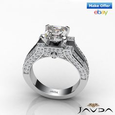 Asscher Diamond Excellent Split Shank Engagement Ring GIA G SI1 Platinum 2.2 ct.