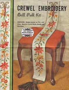 "Elsa Williams VTG Bell Pull Crewel Embroidery Kit 7 1/2"" x 48"" KC269 w/Hardware #ElsaWilliams"