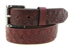 "Men's 1 1/2"" Burgundy Latigo Leather Belt With Skull And Celtic Cross Embossing And A Matching Custom Designed Buckle Made In America"