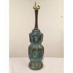 Image of Vintage Danish Drip Glaze Ceramic Lamp