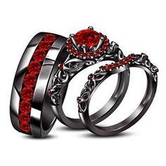 14k Black Gold Fn 925 Silver 2.10 CT Round Red Garnet His & Her Trio Ring Set $$