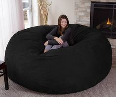 Chill Bag - Bean Bags Chill Sack Bean Bag Chair: Giant Memory Foam Furniture Bean Bag - Big Sofa with Soft Micro Fiber Cover, 8', Black #CuteGiftIdeas #Gift #LazySofa