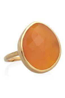 Nugget 18-karat gold-vermeil carnelian ring
