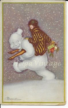 Italian Art Deco artist 'Adolfo Busi' postcard, lady with snowman at winter 1922 Art Deco Artists, Picasso Art, Paul Klee, Italian Art, Mother And Child, Vintage Art, Snowman, Disney Characters, Fictional Characters