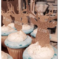 Gold Glitter Deer Cupcake Toppers