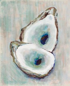 "Double Oyster, 8.5""x 11"" Signed Large Print of Original Acrylic Painting in a 11"" x 14"" mat"