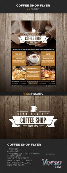 Coffee Shop flyer Please dont forget to PSD files Print Ready Format cm bleed) 300 dpi, cmyk Simple to customize Well organized Layers edit insignia included This file does not include the imagesUsed free fonts:Bebas NeueLeague Gothic Café Design, Layout Design, Print Design, Design Flyers, Graphic Design Flyer, Flyer Design Inspiration, Menu Flyer, Flyer Layout, Template Web