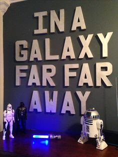 Inspired by Star Wars Pottery Barn room. Bought letters half off at Hobby Lobby ($25) and metallic spray paint ($8). Used command line poster strips ($6) to hang on wall.