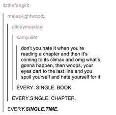 This moment everyone goes through trying to resist the urge to sneak a peek: | 18 Lol-Worthy Tumblr Posts About Books