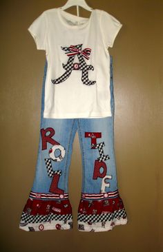 Custom Alabama ROLL TIDE ruffle jeans & Houndstooth appliqued Top BAMA. For zoey