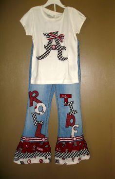 Custom Alabama ROLL TIDE ruffle jeans & Houndstooth appliqued Top BAMA.