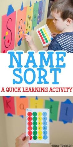 Easy activity for name recognition – Busy Toddler Easy activity for name recognition Sticker Name Recognition Activity: an easy indoor activity that toddlers will love! A great learning activity. Alphabet activity for preschoolers. Preschool Names, Preschool Literacy, Toddler Preschool, Toddler Games, Name Games For Kids, 3 Year Old Preschool, Preschool At Home, Toddler Food, Letter Activities