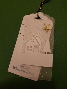 handmade Christmas tag ...#Geschenkanhänger#weihnachten ... two layers ... vellum with embossed dots topped wth die cut house from Hearts Come Home ... Stampin' Up!