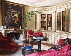 In Gruosi's study, an 18th-century Florentine pharmacy cabinet holds antique books.