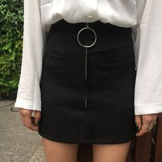Black A-line Mini Skirt with Silver Hoop Zipper Detailing