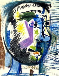 "Pablo Picasso - ""Head of a bearded man at the V cigarette"", 1964"