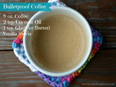 Bulletproof Coffee - rivals any fancy coffee house concoction without the unhealthy hydrogenated oils and sugar found in the flavored coffee creamers.