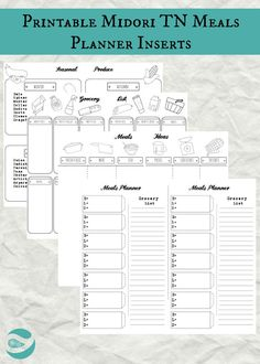 MEAL PLANNER INSERTS - Midori Traveler's Notebook - Pdf Instant Download - 5 documents - Grocery List - Meal…