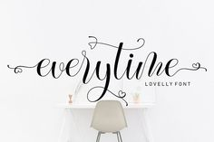 Everytime is a sweet, soft hand-lettered script. The playful rounded characters make it the perfect font for creating stunning calligraphy. Script Font Generator, Modern Script Font, Cricut Fonts, Handwriting Fonts, Premium Fonts, All Fonts, Glyphs, School Design, Decoration