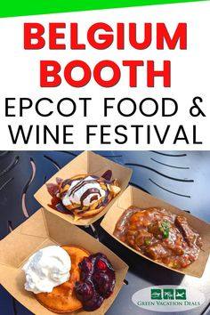 Are you planning to visit the Epcot Food and Wine Festival in 2021? You should stop by the Belgium booth! It opened on October 1. We think Belgium has some of the most delicious food at Epcot's Food & Wine Festival. Find out what we thought of the Beer-braised Beef served with Smoked Gouda Mashed Potatoes, Belgian Waffle with Berry Compote and Whipped Cream & the Belgian Waffle with Warm Chocolate Ganache. And learn what drinks you can order, too! Disney World travel advice for where to eat. Walt Disney World Vacations, Disney Resorts, Disney World With Toddlers, Berry Compote, Epcot Food, Smoked Gouda, Belgian Waffles, Disney World Planning, Disney World Tips And Tricks