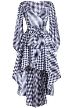In fresh navy and white gingham print, Caroline Constas' 'Lena' dress is voluminous yet lightweight in cotton. The dramatic tiered skirt, balloon sleeves and a chic wrap silhouette all combine to create the ultimate vacation-ready style. Korean Fashion Dress, Indian Fashion Dresses, Indian Designer Outfits, Muslim Fashion, Fashion Outfits, Cotton Dresses Online, Designer Party Wear Dresses, Designs For Dresses, Jeans Denim