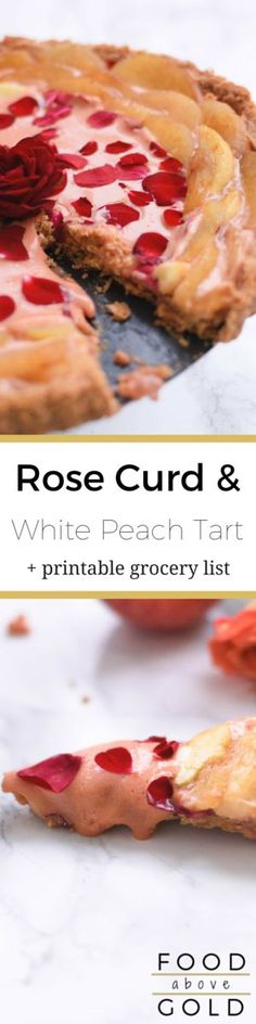 This Rose Curd and White Peach Tart is a beautiful & romantic way to enjoy fresh edible roses in a beautiful, light, and delicious dessert. via @foodabovegold