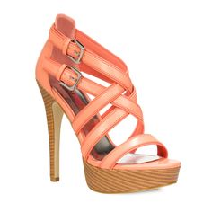 Pin to Win $500! Here's a must-have for summer: strappy coral heeled sandals. Enter here: https://www.facebook.com/justfab/app_137377669785610?ref=ts