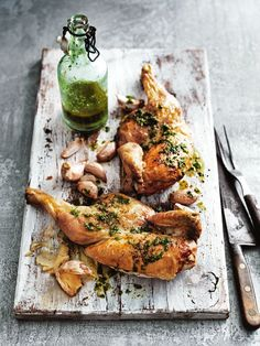 perfectly rustic: recipe - Roasted Garlic and Rocket Chicken