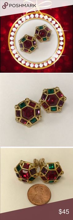 VTG JEWELED EARRINGS 🎁BUNDLE & SAVE🎁 I'm pretty sure these haven't been worn. I've tried to model them myself but unsuccessfully. Stunning with purple green and red faceted glass. Comfortable and lightweight with no tugging or pulling. Padded backs. Clip on so anyone can wear them! Size shown next to a coin. Any questions please ask! 🚫Trades. Offers welcome and remember to bundle for additional savings! Tx for browsing! Marian🌹 Vintage Jewelry Earrings