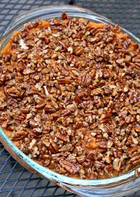 Paleo Sweet Potato Casserole. Melissa's recipe has canned coconut milk, coconut oil, maple syrup, cinnamon, nutmeg, juice from an orange, sweet potatoes, pecans.