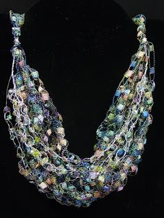 Crochet Ladder Yarn Necklace With Wire and Beads