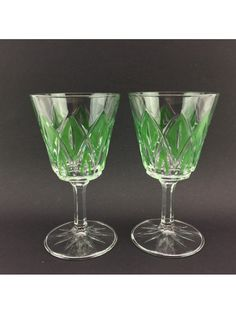 Pre-Loved Vintage 70's VMC REIMS France Wine Glasses Clear Green Diamond Cut Set of 2 Collectible
