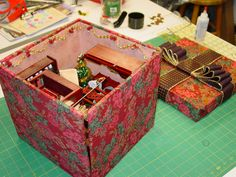 Miniature Quilt Room in a Box - opens up into a minitue room!