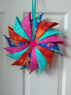 Folded Fabric Wreath, Spring Wreath, Door Wreath, Indoor Wreath, #FFW1720butterfly