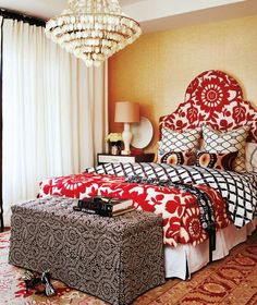 Contemporary African Bedroom Decor equipped with Vibrant Color and Warm Lighting
