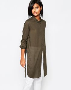 Image 1 of Vero Moda Side Split Shirt