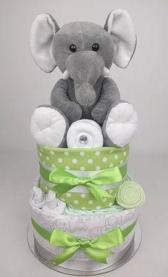 Two Tier Green and Grey Elephant Nappy Cake, Elephant, Green, Nappy Cakes by Emma, Australia, Brisbane, Diaper Cake, Brisbane, Sydney, Melbourne, Australia