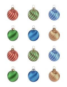 Swirl Christmas Ornament Edible Cupcake & Cookie Toppers | My Party Helpers | http://mypartyhelpers.com/products/24-swirl-christmas-ornament-edible-cupcake-toppers