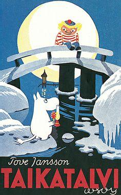 1957 Taikatalvi, sarjan viides kirja julkaistaan. Kirjan sävy on tummempi ja havainnoivampi kuin aiemmissa kirjoissa. Tarinassa Muumipeikko on usein yksinäinen, surullinen, vihainen tai peloissaan - johtuen siitä, että joutuu elämään maailmassa, johon ei tunne kuuluvansa. Aiempien tarinoiden kiehtovuus ja charmi säilyy edelleen, mutta tarina sukeltaa syvemmälle Muumipeikon luonteeseen kuin aiemmin. Children's Book Illustration, Character Illustration, Film Books, My Books, Tove Jansson, Beautiful Book Covers, Classic Books, A Comics, Book Design
